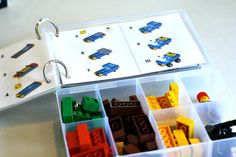 Lego Travel Box. Put instructions on rings (can't believe I never thought of that)