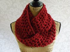 Infinity Scarf Crochet Knit Cranberry Womens Accessories Eternity Fall Winter  Length: 60 inch circle Width: 6 inches  This scarf is made with
