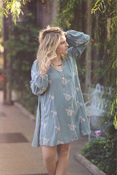 Cornflower embroidered dress