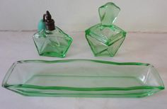 Vintage Art Deco Green Glass Vanity Set from by Decofanatique, $40.00