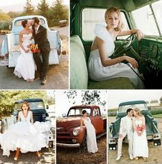 "So many great, unique and rustic ideas for anyone who wants a ""country"" wedding. I like the photos taken in this old truck (for us, we would use the old Jeep)"