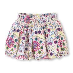 A pretty speckled print woven fabric and fashionable bubble hemline every mom loves!