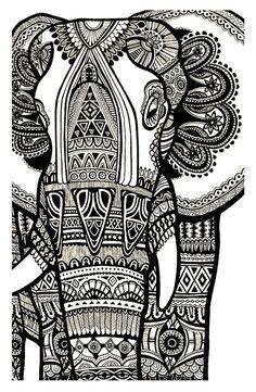 Galerie de coloriages gratuits coloriage-elephant-gratuit-adulte.