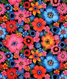 Shop  Black Lluvia de Flores Oilcloth Fabric at onlinefabricstore.net for $6.05/ Yard. Best Price & Service.