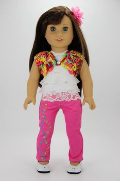 Handmade 18 inch doll clothes  Pink and multicolor 4 piece