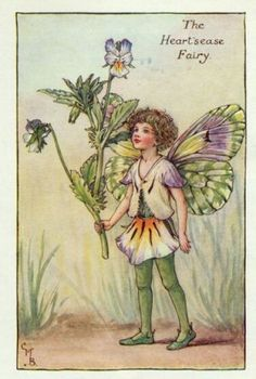 Heartsease Flower Fairy Print c.1927 Fairies by Cicely Mary Barker