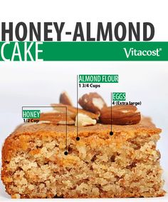Gluten-Free Honey-Almond Cake #Recipe #Vitacost