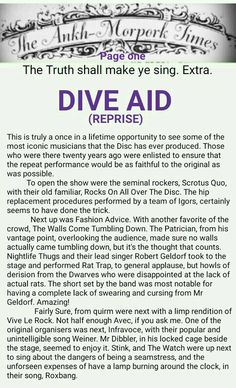 The Ankh-Morpork Times. The Truth shall make ye sing. Extra. DIVE AID (REPRISE). page one. by David Green. 15 Aug 2015