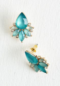 There She Glows Earrings. Admiring eyes will follow you wherever you saunter in these dressy earrings. #mint #modcloth