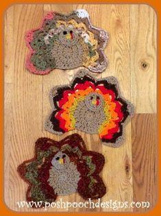 Crochet Square Patterns Posh Pooch Designs Dog Clothes: A Crochet Turkey Crochet Pattern Crochet Hood, Crochet Bear, Crochet Gifts, Free Crochet, Crochet Animals, Crochet Teddy, Crochet Hot Pads, Crochet Towel, Crochet Dishcloths