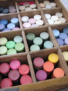 Great idea for storing your acrylic paints.