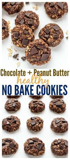 Clean Eating Chocolate Peanut Butter No Bake Cookies. These cookies don't taste healthy at all! You'll never need another no bake cookie recipe.