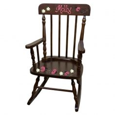 Personalized Espresso Childrens Rocking Chair with Pink Flamingo Design Rocking Chair Nursery, Childrens Rocking Chairs, Unique Baby Gifts, New Baby Gifts, Farmhouse Style Furniture, Baby Baskets, Gift Baskets, Toddler Gifts, Kids Furniture