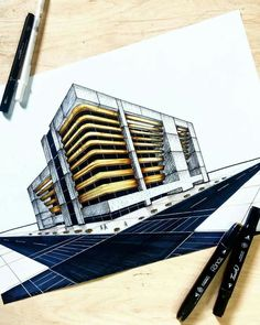 House Drawing Sketches Building New Ideas Architecture Concept Drawings, Revit Architecture, Colour Architecture, Architecture Sketchbook, Architecture Portfolio, Interior Design Sketches, House Drawing, Building Sketch, Building Drawing