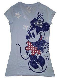 Disney Minnie Mouse 'Minnie Standing in Stars' Junior Girls V Neck T Shirt