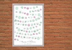 Auf dem modernen Gästeposter unterschreiben bis zu 100 Gäste auf den kleinen Lampions - das etwas andere Gästebuch für eine besondere Erinnerung an den schönsten Tag im Leben. Anna, Poster, Bullet Journal, Paper Lanterns, Memories, Birthday, Amor, Cards, Wedding