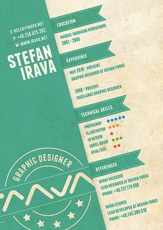 Stefan Irava resume...I like the knowledge level rating system idea for the Technical Skills tab.
