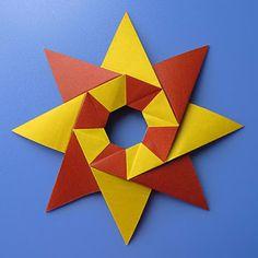 teabag folding: Stella Natale – Christmas star by Francesco Guarnieri Origami Yoda, Origami Star Box, Origami Dragon, Origami Fish, Origami Artist, Origami Paper Art, Paper Crafts, Origami Wreath, Origami Flowers