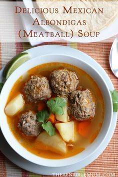 Mexican Albondigas Soup from Garnish with cilantro, serve with a splash of lime or lemon juice and hot corn tortillas for dipping and rice to spoon directly into soup. Which Mexican r (Albondigas Soup Recipes) Mexican Dishes, Mexican Food Recipes, Soup Recipes, Cooking Recipes, Fast Recipes, Recipe For Albondiga Soup, Cheap Recipes, Albondiga Recipe, Mexican Kitchens