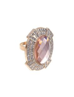 Pink Gem Diamante Deco Statement Ring