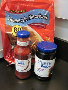 Meatballs in a crockpot. I've made this a few times, but always forget the ratio of grape jelly to chili sauce. Pinning to help me remember!
