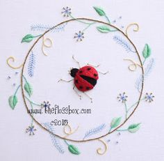 This is another of one of the stumpwork designs I made this past year with beginners in mind.    The ladybugs are such fun to make. I love t...