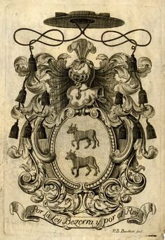 Helmeted coat of arms charged with two bulls, crested with a pastoral hat Engraving