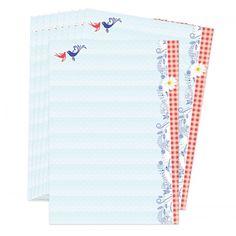 Breng het ouderwetse Hollandse gevoel terug! Mooi postpapier met blauw en rode tinten.  Leuk voor het schrijven van brieven naar nationale en internationale penpals.  Set van 10 vellen, formaat A5 (21 x 14,8 cm). Dit postpapier is exclusief te verkrijgen bij Lojo.