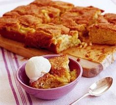Dorset apple traybake - Simple-to-whip-up apple cake that can be cut into bars or squares for a tea time treat Tray Bake Recipes, Apple Cake Recipes, Baking Recipes, Dessert Recipes, Apple Cakes, Cooking Apple Recipes, Bramley Apple Recipes, Cookie Recipes, Baking Ideas