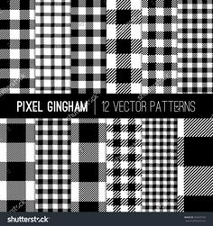 stock-vector-black-and-white-gingham-patterns-and-buffalo-check-plaid-patterns-modern-pixel-gingham-patterns-of-325637102.jpg (1500×1600)