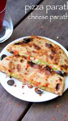 pizza paratha recipe, cheese paratha recipe, cheese stuffed paratha with step by step photo/video. interesting fusion recipe with veg pizza recipe & paratha Pakora Recipes, Paratha Recipes, Chaat Recipe, Veg Recipes, Spicy Recipes, Maggi Recipes, Samosa Recipe, Roti Recipe, Cutlets Recipes