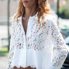 Refreshing White Hollow Out Lace Spliced Short Shirt For Women Blouse Patterns, Blouse Designs, Short Shirts, Fashion Now, White Shirts, Lace Tops, White Long Sleeve, Beautiful Outfits, Ideias Fashion