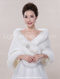 Wedding Wraps / Fur Wraps Shawls Sleeveless Faux Fur Ivory Wedding / Party/Evening / Casual 2016 - $15.79