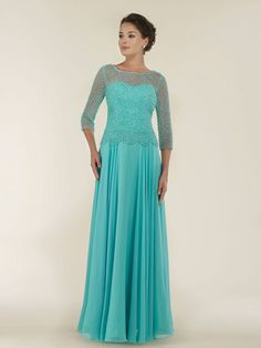A-Line 3/4 Length Sleeves Illusion Neckline Beaded Bodice Long Chiffon Mother of The Bride Dresses 99803015