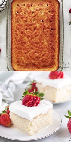 Strawberry Shortcake Discover Tres Leches Cake Recipe A sweet and decadent semi-homemade tres leches cake recipe. This Latin inspired dessert flavored with three milks is sure to become a household favorite. Brownie Desserts, Dessert Cake Recipes, Best Dessert Recipes, Cheesecake Recipes, Easy Desserts, Mexican Food Recipes, Sweet Recipes, Strawberry Cheesecake Cake, Summer Cake Recipes