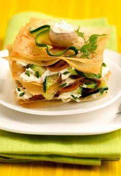 Recette de millefeuille aux courgettes : millefeuille de courgettes, déguster millefeuille de légumes, millefeuille de courgettes aux champignons - Recettes rapides : recettes rapides top chrono - recette rapide à préparer