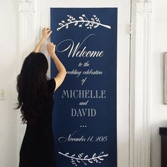 Stunning six foot tall sign welcoming guests to the couple's special day #fourteenforty #1440nyc