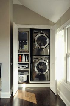 20 Space Saving Ideas for Functional Small Laundry Room Design Small laundry room design is about creating functional spaces where chores do not get procrastinated but get done quickly and efficiently Home, Small Laundry Rooms, Apartment, Small Space Living, New Homes, House, Laundry In Bathroom, House Interior, Room Design