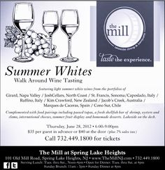 """Next Thursday we are featuring a variety of wine, sparkling and rose wines that we love!! Join us for """"Summer Whites""""! from 6-9pm."""