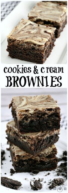 Cookies & Cream Brownies - Butter With a Side of Bread ~ Easy recipe for a classic fudgy brownie baked with a sweetened layer of cream cheese swirl with crushed Oreo cookies. Wow!!