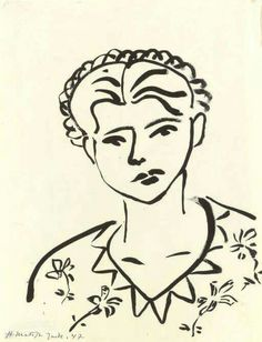 Henri Matisse - Femme, robe à fleurs, 1947. Brush and India ink on paper, 20¾ x 16 in. (52.7 x 40.6 cm.).