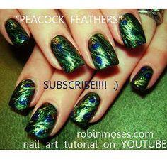 peacock nail art design green and gold nailart nails  http://www.youtube.com/watch?v=_EFxCPnaNCI