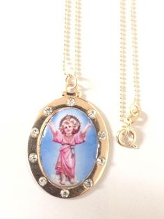 Rhinestone Child Jesus Necklace, Divine child Jesus gold Oval pendant Jesus Pendant Cristian Jewelry Catholic gifts Religious Medals