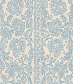 Gaskell (W802-2) - Sheila Coombes Wallpapers - A pretty stripe floral damask style design in blues on a speckled white background. Please request sample for true colour match.  $66