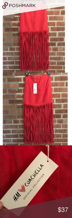 H&M Faux Suede Red Fringe Coachella Skirt Super cute and boho faux suede fringe skirt from H&M Coachella collection. New with tags! H&M Skirts Mini
