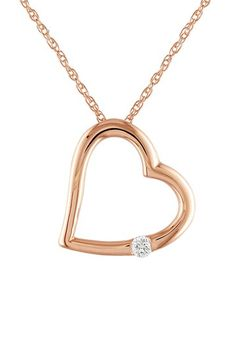 Soft & Sweet: Rose Gold Jewelry  10K Rose Gold Open Heart & Diamond Pendant Necklace - 0.03ctw