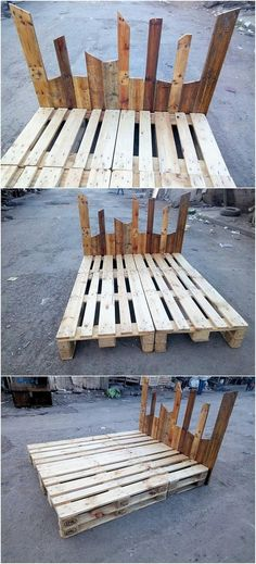 The Best and Easiest DIY Ideas with Recycled Wood Pallets - Wooden Pallet Ideas Wooden Pallet Furniture, Pallet Beds, Wooden Pallets, Headboard Shapes, Headboard Designs, Headboard Ideas, Painted Headboard, Bookcase Headboard, Picture Headboard