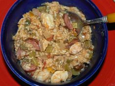 """Goodbye Joe, we gotta go, oh me, oh my-o"".  Yes, it's Jambalaya and mmmmmmm is it ever goooooooood!  It's also easy and takes less than an hour start to finish.  Comfort food, Cajun goodness!"