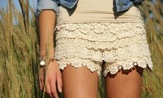 cover old shorts in lace. definitely going to give this a try <3 cute with cowboy boots
