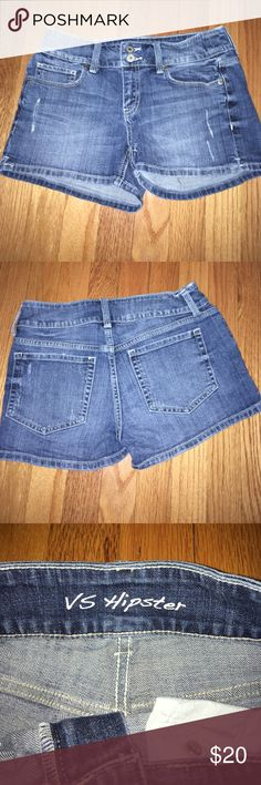 """Victoria Secret High Waisted Shorts Double button, purposely distressed as shown. 'VS Hipster' cut. I am open to negotiations but only through the """"Offer"""" button. Most items ship same day if purchased by 3pm EST, purchases after 3pm are shipped the next morning. Victoria's Secret Shorts Jean Shorts"""